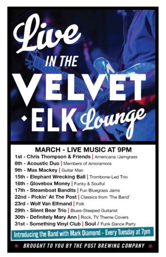 Live in the Velvet Elk Lounge